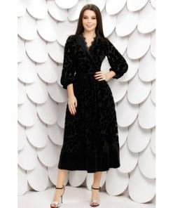 Rochie midi Julianne neagra din tull cu insertii de catifea in forma de frunze
