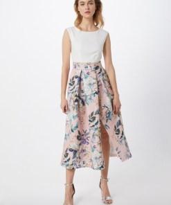 Closet London Rochie 'Closet Gold Pleated Skirt Dress'  roz / alb