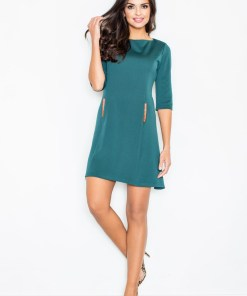 Rochie eleganta, de culoare verde-inchis, cu maneci trei sferturi