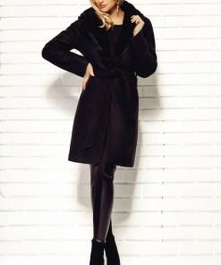 Palton negru stofa cu guler blana naturala de iepure C 303n