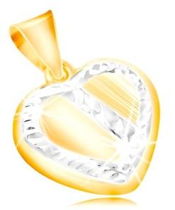 Pandantiv din aur de 14K - inima cu margine ?i diagonala din aur alb