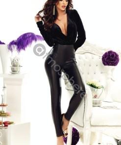Pantaloni negri piele ecologica cu puf cu talie inalta P 816n