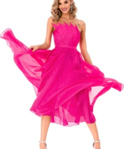 Rochie midi dama BBY roz fucsia