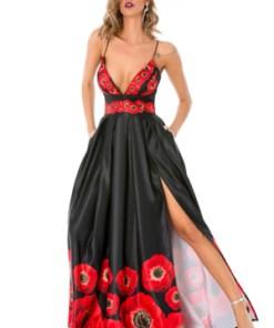 Rochie de seara BBY negru floral