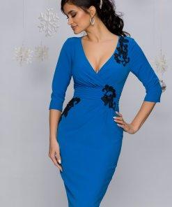 Rochie MBG albastra cu broderie florala cu paiete si pliuri in talie