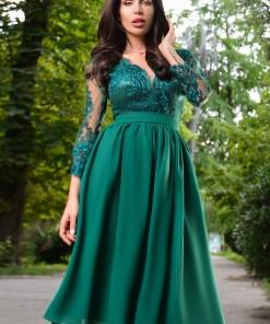 Rochie midi verde cu dantela la bust Rn 2481