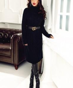 Rochie neagra tricotata cu torsade C 5326n
