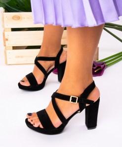 Sandale cu Toc Piele Ecologica Negre Eosa B7410