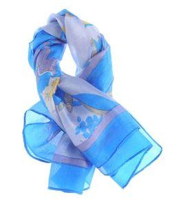 Esarfa matase patrata, nuante albastre