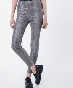 Tigha Pantaloni 'Nori Snake' gri argintiu / negru / argintiu