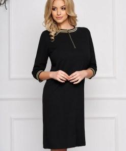 Rochie StarShinerS neagra eleganta scurta cu croi in a din stofa accesorizata cu fermoar