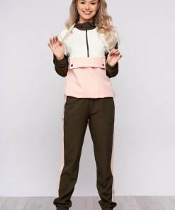 Trening dama SunShine khaki sport din doua piese cu pantaloni si croi larg