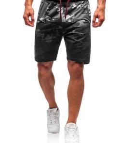 Pantaloni scurți training bărbați camuflaj-grafit Bolf NP26