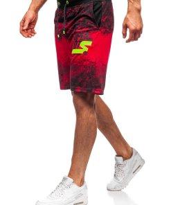 Pantaloni scurți de trening roșii bărbați Bolf KK300163