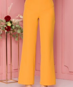 Pantaloni LaDonna galben mustar evazati cu nasturi decorativi