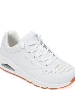 Pantofi sport SKECHERS albi, Uno Stand On Air, din piele ecologica