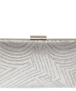 Poseta plic MARINA GALANTI argintie, 1E01, din material textil