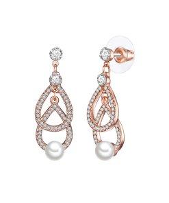 Cercei drop decorati cu perle organice