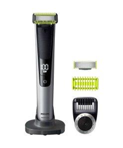 Aparat hibrid de barbierit - tuns barba si parul corporal OneBlade QP6620/20 -Â pieptene 14 lungimi - 2 lame - afisaj LED - Li-ion - husa transport - Negru/Argintiu