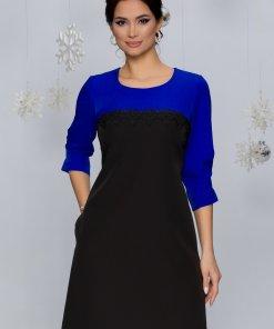 Rochie Sorina albastru cu negru si dantela la bust