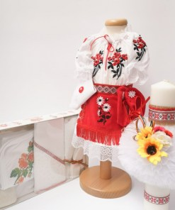 Set Traditional Botez Costumas fetita Trusou Lumanare 3