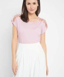 Tricou cu decupaj Roșu și roz