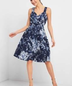 Rochie cu imprimeu floral Albastru