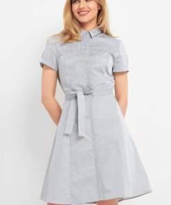 Rochie chemise cu striații Albastru
