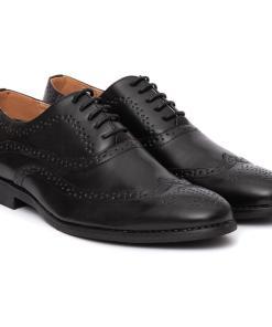 Pantofi barbati Abel cu aspect brogue Negru