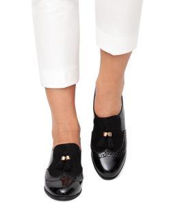 Pantofi dama Ripley cu aspect lacuit si ciucuri Negru