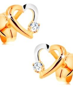 Cercei cu șurub realizați din aur de 14K - contur bicolor de inimă cu zirconiu mic