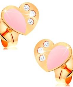 Cercei cu șurub realizați din aur galben de 14K, inimă decorată cu smalț roz și zirconii