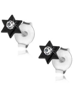 Cercei cu șuruburi, argint 925, stea neagră lucioasă. cristal transparent