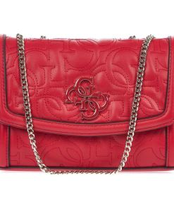 GUESS Small quilted crossbody bag Red