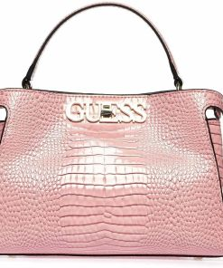 GUESS Lacquered crossbody bag in reptile look Rose