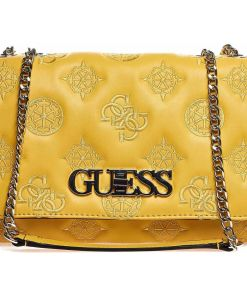 GUESS Shoulder bag with logo embroidery Yellow