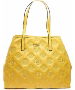 GUESS Shopper with logo embroidery Yellow