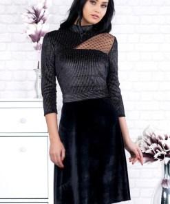 Rochie eleganta neagra din catifea cu fir metalizat