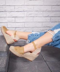 Sandale cu platforma dama galbene Canifa
