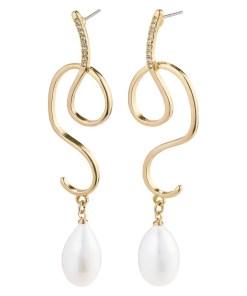 Pilgrim Cercei 'Love' alb perlă / auriu