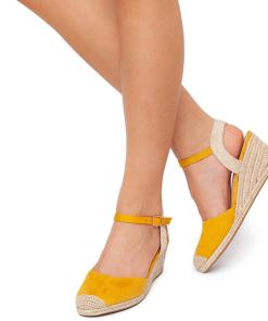 Sandale dama Suzanne vintage cu panza Galben