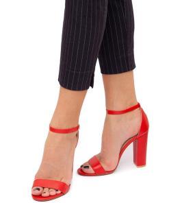 Sandale dama Wilfree cu toc patrat Rosu