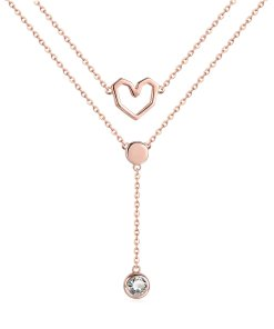 Colier din argint Double Layer Heart Chain