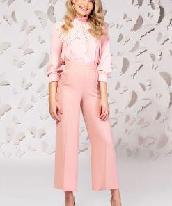 Pantaloni Pretty Girl roz cu talie inalta si croi larg
