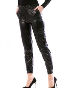 Pantaloni casual din imitatie de piele