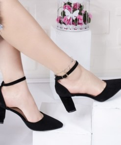 Pantofi dama cu toc negre Concha