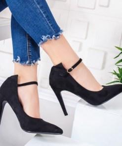 Pantofi dama cu toc negri Minisa