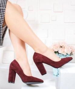 Pantofi dama cu toc visinii Zaresa-rl
