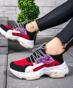Pantofi dama sport negri cu rosu Kysa