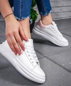 Pantofi sport dama albi cu roz Basilia